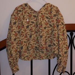Floral button down cropped blouse